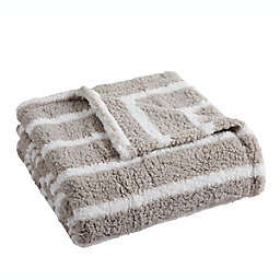 Lucas Stripe Sherpa Throw Blanket in Taupe