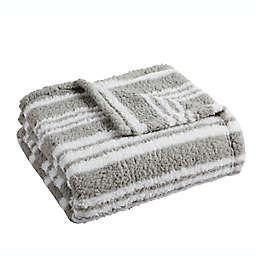 Lucas Stripe Sherpa Throw Blanket in Grey