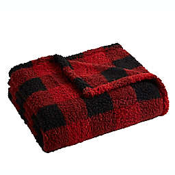 Logan Plaid Sherpa Throw Blanket in Red