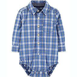 OshKosh B'gosh® Size 3M Plaid Button Front Bodysuit in Blue
