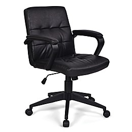 Simpli Home Brewer Swivel Office Chair in Distressed Black