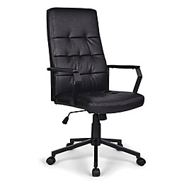 Simpli Home Foley Swivel Office Chair in Distressed Black