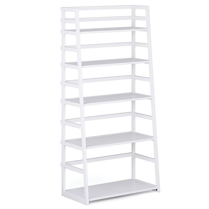 Alternate image 1 for Simpli Home Acadian Ladder Shelf Bookcase in White