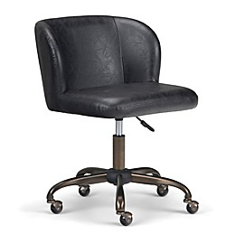 Simpli Home Sheehan Swivel Office Chair in Distressed Black