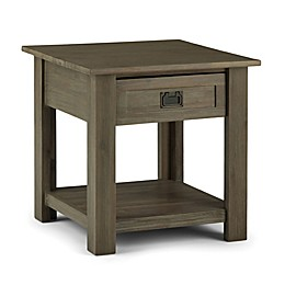 Simpli Home Monroe Solid Acacia End Table in Distressed Grey