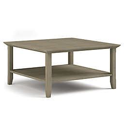 Simpli Home Acadian Solid Wood Square Coffee Table in Distressed Grey