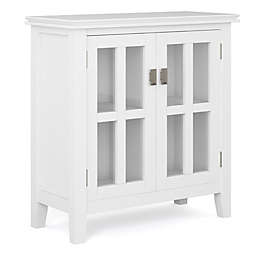 Simpli Home Artisan Solid Wood Low Storage Cabinet in White