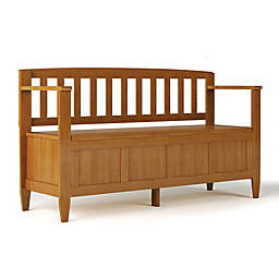 Simpli Home Brooklyn Entry Bench in Golden Brown