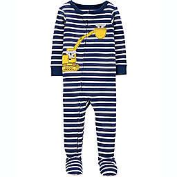 carter's® Construction Snug Fit Zip-Front Footie Pajama in Blue Stripe