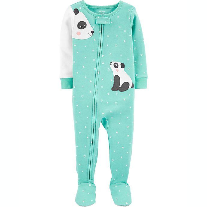 Alternate image 1 for carter's® Panda Snug Fit Zip-Front Footie Pajama in Green