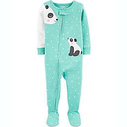 carter's® Panda Snug Fit Zip-Front Footie Pajama in Green