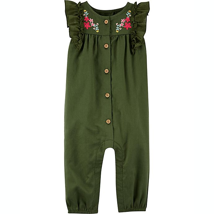 Alternate image 1 for carter's® Floral Ruffle Sleeve Romper in Olive