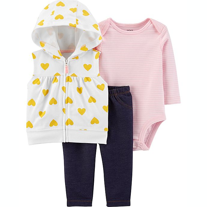 Alternate image 1 for carter's® 3-Piece Heart and Stripes Bodysuit, Vest and Pant Set