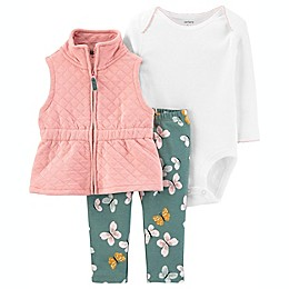 carter's® 3-Piece Butterfly Quilted Vest, Long Sleeve Bodysuit, and Pant Set