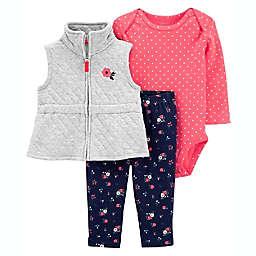carter's® Size 3M 3-Piece Quilted Bodysuit, Vest and Pant Set
