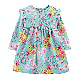 carter's® Big Flower Sage Long Sleeve Dress