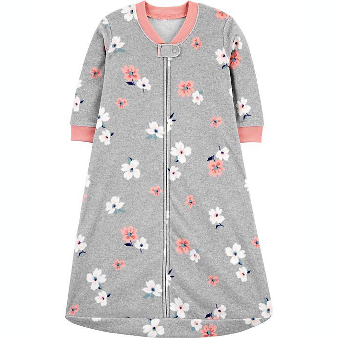 Alternate image 1 for carter's® Floral Fleece Sleep Bag in Heather Grey