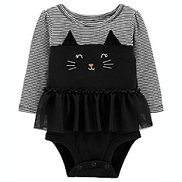 carter's® Halloween Cat Long Sleeve Tutu Bodysuit in Black