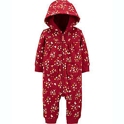 carter's® Newborn Floral Fleece Jumpsuit in Burgundy