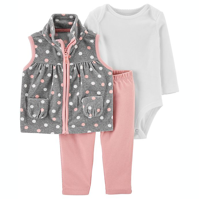 Alternate image 1 for carter's® 3-Piece Hearts Quilted Vest, Long Sleeve Bodysuit, and Pant Set