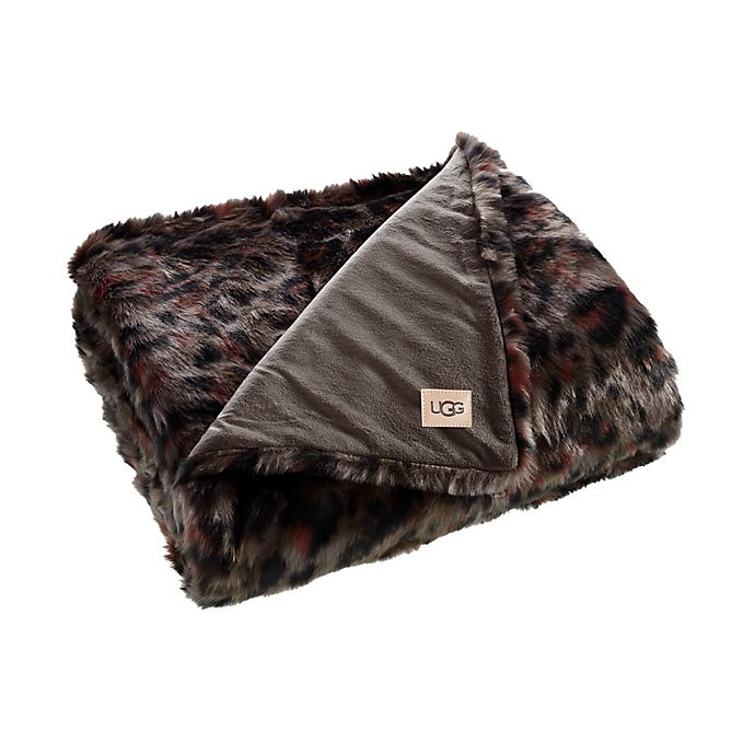 Alternate image 1 for UGG® Bobcat Printed Faux Fur Throw Blanket in Mole