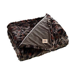 UGG® Bobcat Printed Faux Fur Throw Blanket in Mole