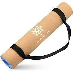 Life Energy 5mm EkoSmart Cork Yoga Mat with Yoga Strap
