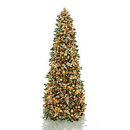 Easy Treezy 7.5-Inch Pre-Lit Golden Metallic Fir EZ Setup Artificial Christmas Tree in Green