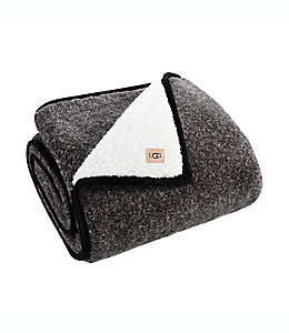Frazada de borrega de poliéster UGG® Classic con diseño jaspeado color negro