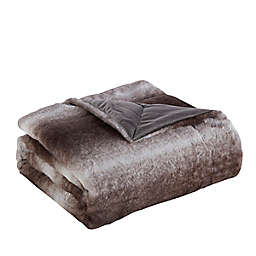 Reaburn Faux Fur Throw Blanket in Brown