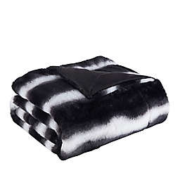 Denali Faux Fur Throw Blanket in Black/White