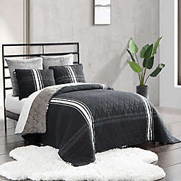 UGG® Aiden 2-Piece Reversible Twin Quilt Set in Black Plaid