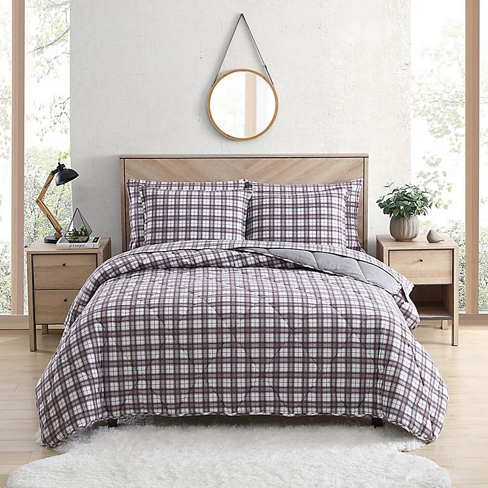 Alternate image 1 for UGG® Juvie 3-Piece Full/Queen Flannel Comforter Set in Cabernet