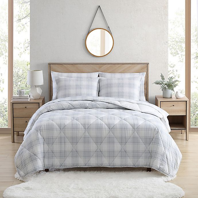 Alternate image 1 for UGG® Juvie 3-Piece Full/Queen Flannel Comforter Set in Grey Plaid