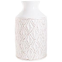 homeessentials 18-Inch Washed Ceramic Vase in White