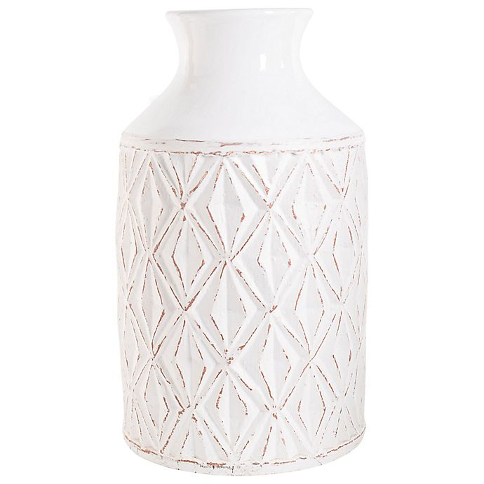 Alternate image 1 for homeessentials 18-Inch Washed Ceramic Vase in White