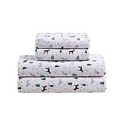 Dogs and Dots Brushed Cotton Flannel Queen Sheet Set in Brown/White