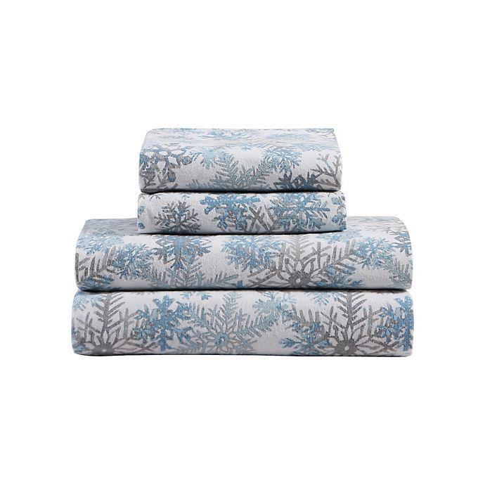 Snowflake Brushed Cotton Flannel Sheet Set Bed Bath Beyond