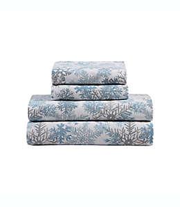 Set de sábanas queen de franela con estampado de copos de nieve