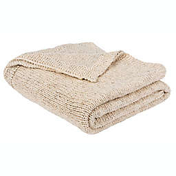 Safavieh Ralen Knit Throw Blanket in Natural/Silver