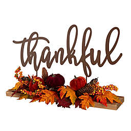 """Glitzhome® """"Thankful"""" Metal Floral Harvest Sign in Brown"""