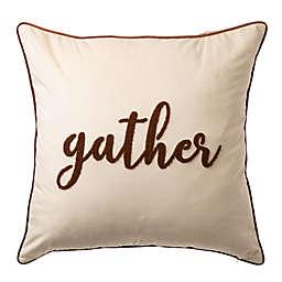 "Glitzhome® ""Gather"" Velvet Square Pillow Cover in White"