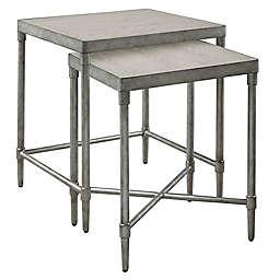 Martha Stewart Bryn Lee 2-Piece Nesting Table Set in Antique Silver