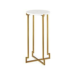 Martha Stewart Annalee Accent Table in White/Bronze