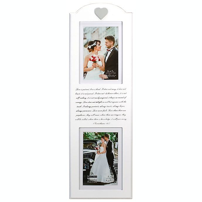 Alternate image 1 for Malden® Corinthians Mr. & Mrs. 2-Photo Picture Frame in White