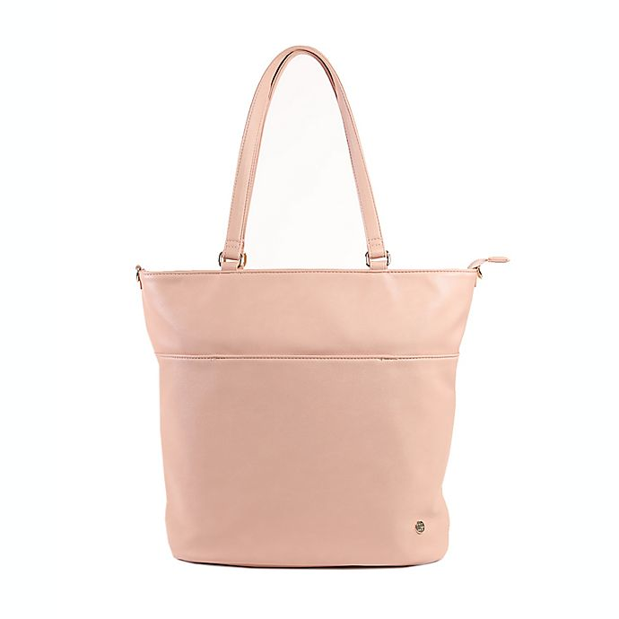 Alternate image 1 for Little Unicorn Citywalk Faux Leather Diaper Tote in Blush