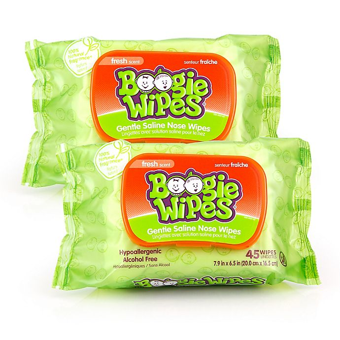 Alternate image 1 for Boogie Wipes® 2-Pack 45-Count Saline Wipes in Fresh Scent