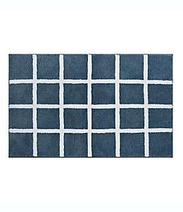 Tapete para baño con diseño a cuadros de 50.8 x 83.82 cm en azul ahumado