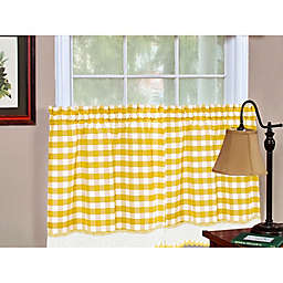 Buffalo Check 36-Inch Kitchen Window Curtain Tier Pair in Yellow