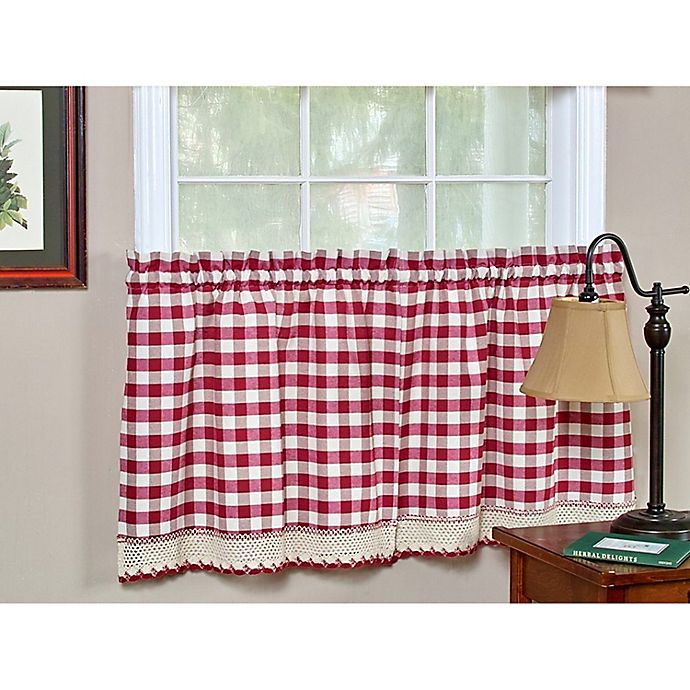 Alternate image 1 for Buffalo Check 24-Inch Kitchen Window Curtain Tier Pair in Burgundy